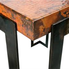 hammered copper dining table steel strap rectangle dining table with copper top for designs 6
