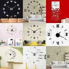 diy large number wall clock 3d mirror sticker clock home office