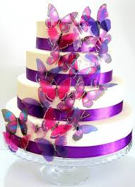 cake decorations 50 x mixed purple stick on butterflies wedding cake toppers