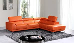 Leather Sectional Sofa Chaise by Divani Casa Wisteria Modern Orange Leather Sectional Sofa W Right