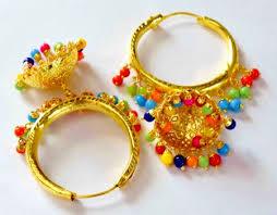 lotan earrings gold polished dangles jhumka waliyaan lotan bali set with