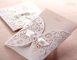 fast shipping white bow wedding invitations wedding cards