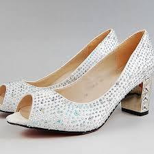 wedding shoes dillards peep toe white satin bridal wedding shoes rhinestone chunky heel