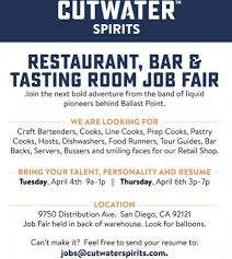 Send Resume To Jobs by Bring Your Talent Personality And Resume Cutwater Spirits Seeking