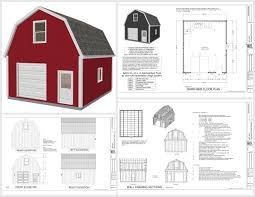 garage plans sds plans g524 20 x 24 x 10 gambrel garage barn plans pdf and dwg