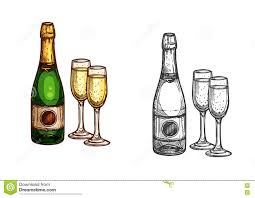 champagne bottle outline bottle and glass of champagne sketch icon stock vector image