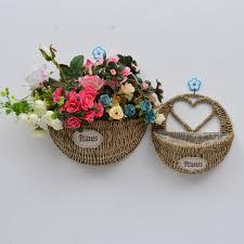 whism wall mount hanging wicker storage basket woven flower pot