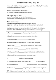 homophones worksheet handout resource by oops vip teaching