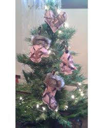 slash prices on pink camo with brown trim ornaments set of 4