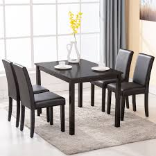 breakfast table with 4 chairs 5 pcs dining table set with 4 chairs black wood kitchen dining room