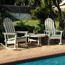 Outdoor Rockers Polywood Classic Adirondack Rocking Chair Seating Set Classic