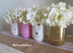 Ball Jar Centerpieces by Pink And Gold Mason Jar Centerpieces Baby Shower Mason Jars