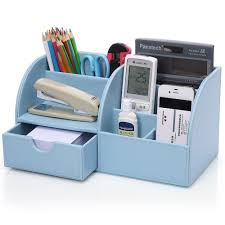 Pen Organizer For Desk Kingfom 7 Storage Compartments Multifunctional Pu Leather Office