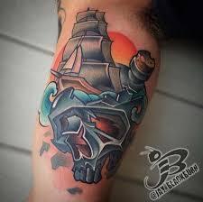 new school water tattoo powerline tattoo tattoos nature water new school ship in a skull