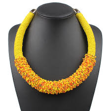 ethnic necklace aliexpress images Claire jin bohemian choker handmade millet bead woven women short jpg