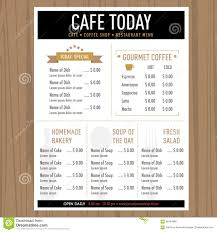 menu design cafe restaurant template with icons and text stock