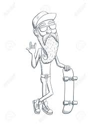 bearded old man with skateboard sketch vector illustration