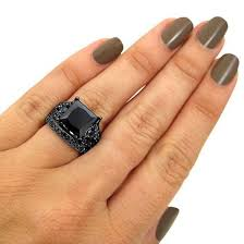 black engagement ring set jewels evolees evolees amazing 5 0 ct princess cut black