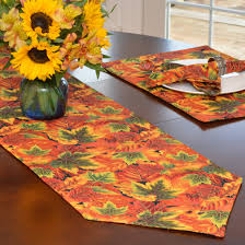 54 inch table runner table runners fall sunflower and leaf print 54 inch table runner at