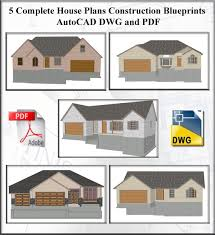 complete house plans 5 spec autocad house plans from 1200 to 1800 sq ft dwg and pdf
