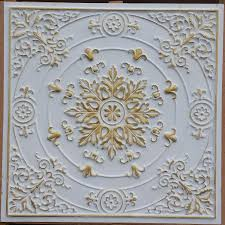 pl18 faux tin ceiling tiles white gold color 3d embossed cafe club