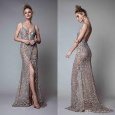 evening gown berta front split evening dresses rhinestones sleeveless plunging