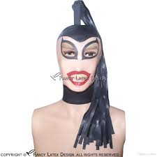 halloween city wigs 2017 black latex hoods ponytail wig hairs zipper at back open