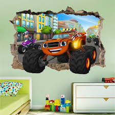 blaze and the monster machines msmashed wall sticker bedroom art