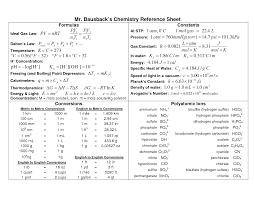 high chemistry formula sheet chemistry reference sheet