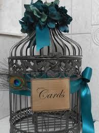 wedding card holder birdcage cardholder peacock by yesmorefunk