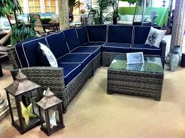 l shaped resin wicker sectional with sunbrella navy canvas