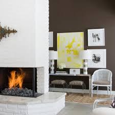 Yellow Fireplace White Brick Fireplace Design Ideas