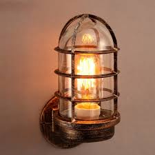 Sconces Wall Lighting Industrial Rust Metal Cage 1 Light Wall Lamp With Clear Glass