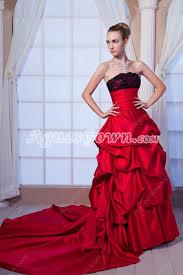modest wedding dresses strapless red taffeta ball gown wedding
