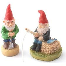 miniature set of 2 garden gnomes one is fishing