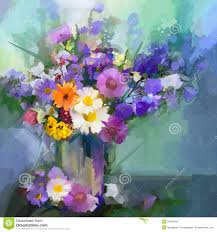 oil painting daisy flowers in vase stock illustration image