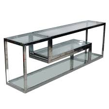 Tv Table Mid Century Modern Chrome Glass Etagere Or Tv Media Table After