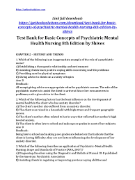 test bank for basic concepts of psychiatric mental health nursing