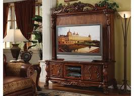 antique style ornate tv stand u0026 hutch in traditional cherry oak