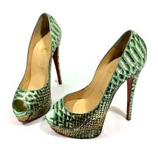 christian louboutin lady peep heels exotic leather green ref 24736