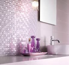 Purple Bathroom Wall Decor Natural Stone Tiled Shower Wall Panel With Glass Mosaic Accent F