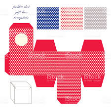 cute retro square gift box template with polka dots ornament to