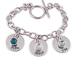 birthstone charm bracelet for charm bracelet sted with name and birthstones