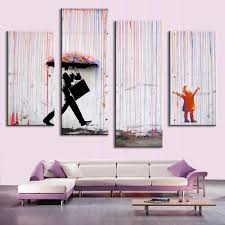 Home Decor Wall Paintings Unframed 4pcs Set Banksy Art Colorful Rain Oil Painting Paintings