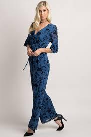 blue velvet jumpsuit black velvet floral overlay maternity wrap jumpsuit