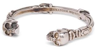 bracelet skull silver images Lyst alexander mcqueen twin textured skull antique silver jpeg