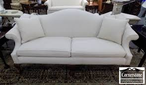 bassett chippendale white ball and claw foot camelback sofa