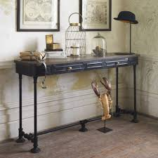 wood and metal console table with drawers dark wood and metal console table console table wood and metal