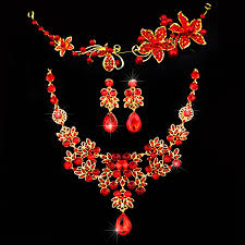 red gold jewelry necklace images Fashion red flower rhinestone crystal chunky wedding bridal prom jpg