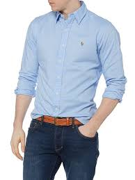 ralph lauren light blue polo ralph lauren men long sleeve slim fit oxford chambray shirt